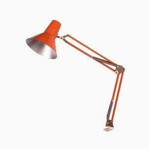 Lámpara de escritorio naranja de Luxo, años 70