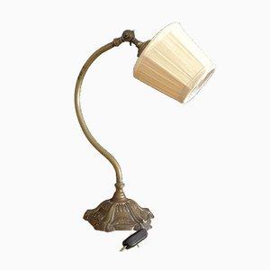 Antike französische Tischlampe aus Messing mit Schwanenhals, 1920er