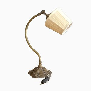 Antique French Brass Swan Neck Table Lamp, 1920s