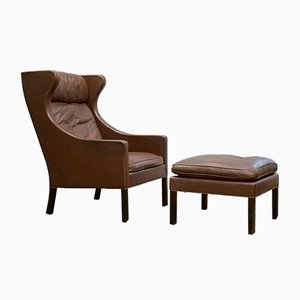 Fotel Wing Chair with Footstool by Borge Mogensen for Fredericia, Denmark, 1960s, Set of 2