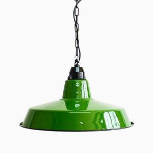Antike grün emaillierte Deckenlampe