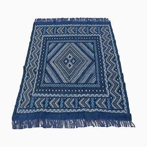 Vintage Berber Handmade Blue Wool Kilim Rug