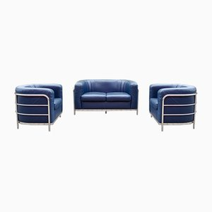 Leather Onda Sofa & 2 Armchairs by De Pas, D'Urbino & Lomazzi for Zanotta, Set of 3