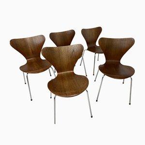 Chaises de Salle à Manger 3107 Vintage en Teck par Arne Jacobsen pour Fritz Hansen, 1973, Set de 5