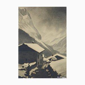 Art Deco Mountain Snow Scene by Gisele Berne de Geavisie, 1933