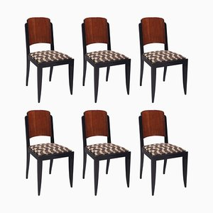 French Art Deco Chairs by Architect Jules Leleu, Set of 6