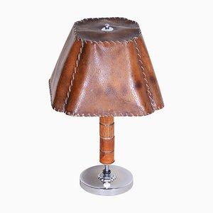 Czech Art Deco Walnut, Chrome & Parchment Table Lamp, 1920s