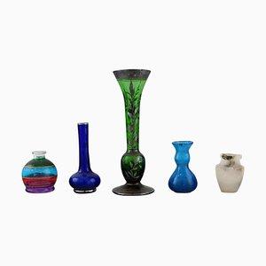 Miniatur Vasen aus Kunstglas, 20. Jh., 5er Set