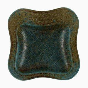 Schale aus glasierter Keramik mit kariertem Muster von Gunnar Nylund für Rörstrand