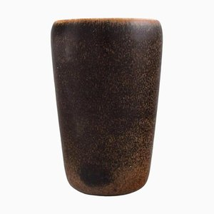 Saxbo Vase aus glasiertem Steingut mit braunen Schattierungen, Mitte 20. Jh