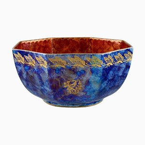 Bowl in Orange & Blue Glazed Porcelain with Hand-Painted Butterflies from Rosenthal