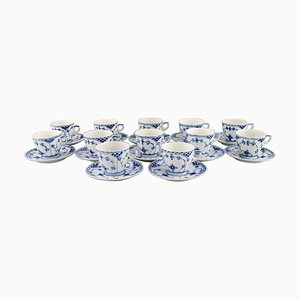 Blue Fluted Half Lace Coffee Cups with Saucers from Royal Copenhagen, Set of 12