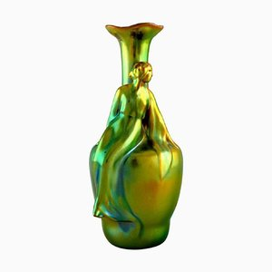 Art Nouveau Zsolnay Vase in Glazed Ceramic Modelled with Sitting Woman