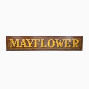Antikes handbemaltes Mayflower Ladenschild aus Holz
