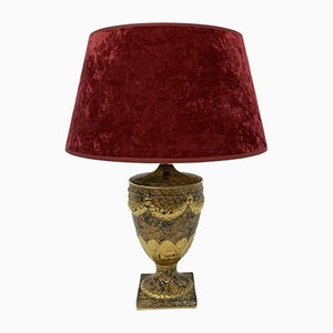 Empire Style Ceramic Table Lamp with Golden Details, 1970s