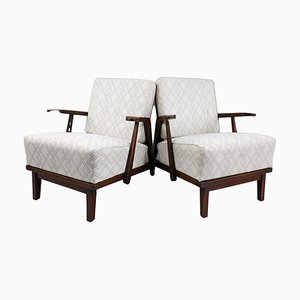 Sculptural Armchairs in Oak & Fabric, France, 1950s, Set of 2