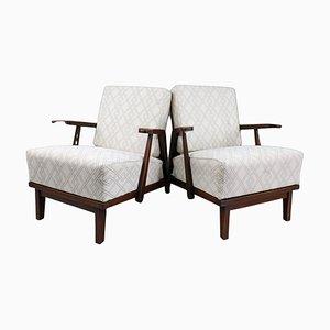 Skulpturale Sessel aus Eiche & Stoff, Frankreich, 1950er, 2er Set
