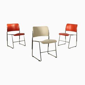 Sedie in acciaio e metallo di David Rowland per GF Furniture, set di 3