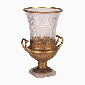 Alabaster, Gilded Bronze & Crystal Table Lamp, Italy, 20th Century