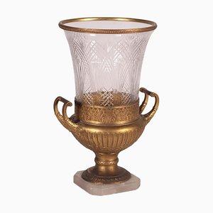 Lampada da tavolo in alabastro, bronzo dorato e cristallo, Italia, XX secolo
