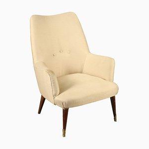 Vintage Italan Armchair in Wood & Velvet