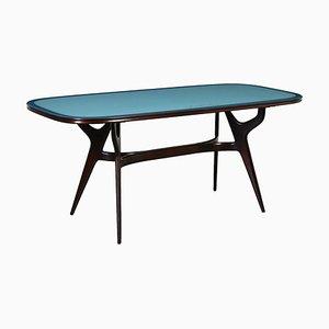 Ebony Stained Beech & Back-Treated Glass Table, Italy, 1950s