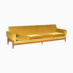 Kiushu Saporiti Sofa in Velvet & Teak, Italy, 1960s
