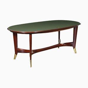Mahogany, Brass & Back-Treated Glass Table, Italy, 1950s