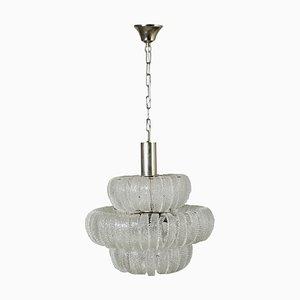 Vintage Italian Metal & Glass Ceiling Lamp