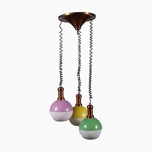 Alumium Glass Ceiling Lamp, Italy, 1960s