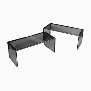Chromed Metal & Smoked Glass Coffee Tables, Italy, 1970s, Set of 2