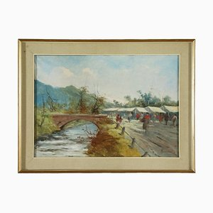 Country Glimpse with Figures Canvas