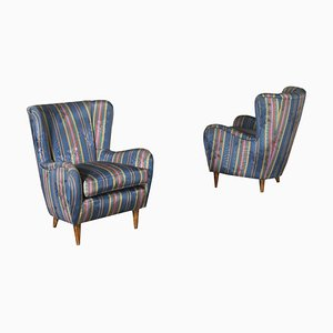 Armchairs in Fabric, Italy, 1950s, Set of 2