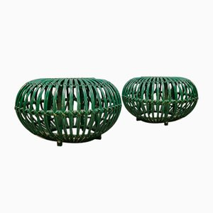 Vintage Lobster Pot Ottomans in Cane & Wicker by Franco Albini, Set of 2
