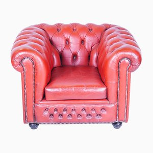 Antique Red Chesterfield Leather Armchair