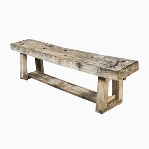 19th Century French Weathered Oak Low Workbench