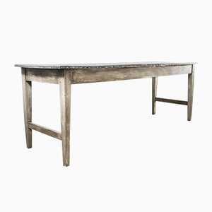 Mesa consola de taller francesa rectangular con superficie de zinc, años 50