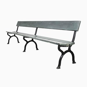 French Long Green Station Bench with Cast Legs, 1960s