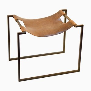French Wrought Iron and Leather Stool