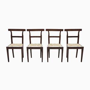 Walnuss Stühle mit Strohsitzen, 1800er, 4er Set