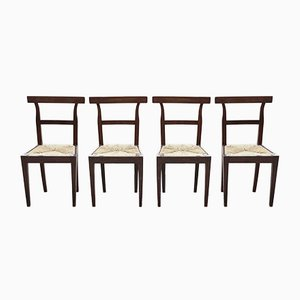 Walnut Chairs with Straw Seats, 1800s, Set of 4