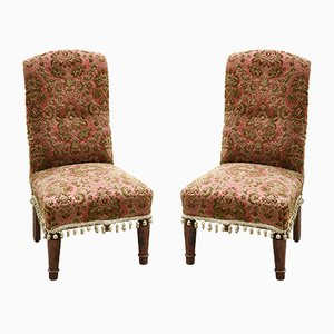 Side Chairs in Damask Fabric, Italy, 1800s, Set of 2