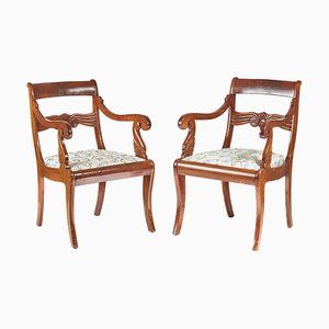 Antique French Mahogany Carver Chairs, 1880, Set of 2