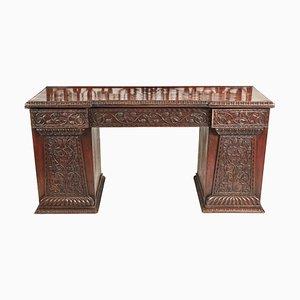 Antique Ornate Carved Anglo-Indian Oak Padauk Breakfront Pedestal Sideboard