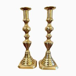 Antique Victorian Brass Candlesticks, Set of 2