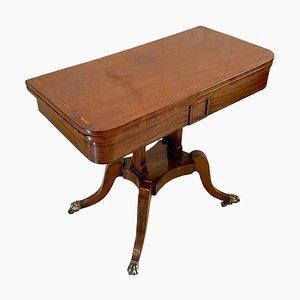 Tavolo da gioco Regency antico in mogano intarsiato