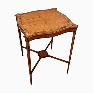 Antique Victorian Satinwood Inlaid Lamp Table from Edwards & Roberts