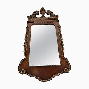 Antiker Spiegel mit Rahmen aus geschnitztem Nussholz & vergoldetem Rahmen