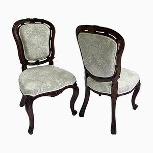Antike viktorianische Beistell- oder Schreibtischstühle aus geschnitztem Nussholz, 2er Set