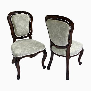 Antique Victorian Walnut Carved Side or Desk Chairs, Set of 2